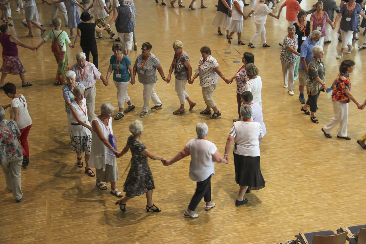 Visitors dancing at the dance festival